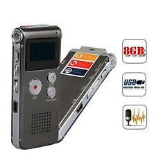 8GB Digital USB Audio Voice Recorder Rechargeable Dictaphone With MP3 Player