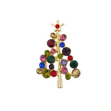 Lux Accessories Holiday Multi Colored Jewel Tone Christmas Tree Xmas Brooch Pin