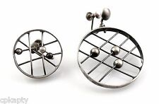 RARE Vintage 1950s Lewittes California Modernist Sterling Asymmetrical EARRINGS