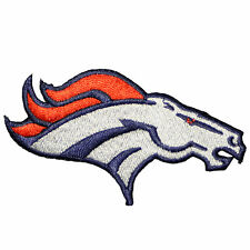"Denver Broncos Iron On Patch 3.375"" X 1.75"" embroidered Team Logo AFC (Head)"