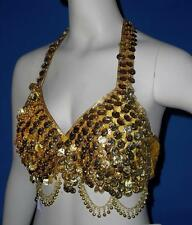 New Gold Yellow Coin Large Satin Velvet Belly Dance Tribal Bra Top C D Cup $52
