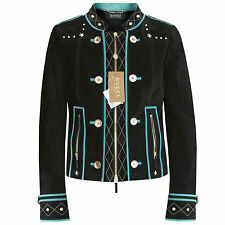GUCCI $3776 black suede leather metal star studded teal trim biker jacket 40 NEW