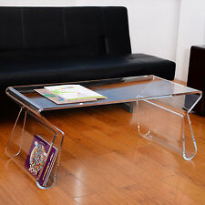 "38"" Modern Portable Acrylic Lucite Carrying Tray Side End Coffee Table - Clear"