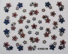 Accessoire ongles : nail art ,Stickers autocollants, fleurs roses et bleues