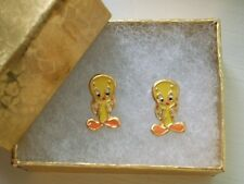 18K GOLD Fill Looney Tunes Girls Yellow TWEETY BIRD STUD Post EARRINGS Fast Ship