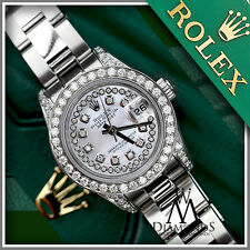 Women's 26mm Diamond Rolex Oyster Perpetual Datejust Custom White MOP New Style