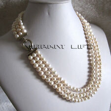 "20-22"" 6-8mm White 3row Freshwater Pearl Necklace Strand Necklace A U"