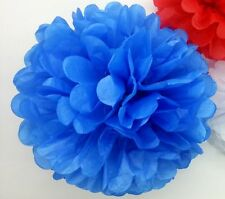 "10pcs 6"" Royal blue tissue pom poms baby shower wedding event party decorations"