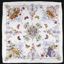 "VTG 1970's GUCCI V. ACCORNERO FLORAL BUTTERFLY FRUIT 100% SILK SCARF 34"" X 34"""