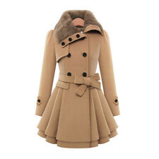 Neu Damen Mantel Jacke Winter Lang Parka Mode Zweireihig Trench Coat Winterjacke
