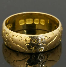22ct Yellow Gold Patterned Wedding Band (Size L 1/2) 6mm Width London c. 1958