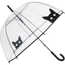 Peek-a-Boo Clear See-through Dome Umbrella - Black Cat