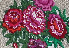 """New Peonies 18"""" x 18"""" PREWORKED Needlepoint  Canvas Pretty Flowers Red Roses"""