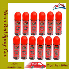 12 x Fluorescent Neon Red Easy & Quick Spray Paint Matt 200ml Auto Car Creative
