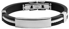 sehr schönes Herren Armband Edelstahl Kautschuk schwarz inkl. Gravur ID Band