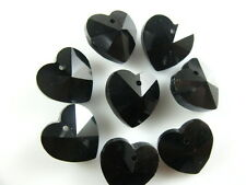 12pcs Black Glass Crystal Heart-Shaped Beads Spacer Jewelry Findings 14mm Charms