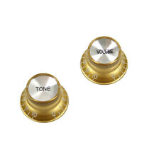 Set of 2 Top Hat Bell Style Guitar Knobs (1x tone 1x volume) Foil-top ,Gold