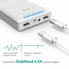 Portable Charger RAVPower 13000mAh Power Bank External Battery Pack 4.5A White