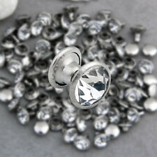 Lots Rhinestone 6mm Leathercraft DIY Round Studs Spots Spikes Rivets Punk