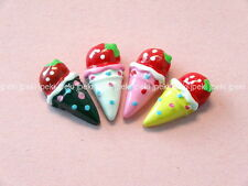 Lot of 20 Resin Ice Cream Cone Flat back Button Cabochon Charm Craft N84