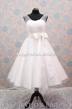 Uk 1310 short wedding dress bridal gown polka dot tulle size 8 10 12 14 16 18 20