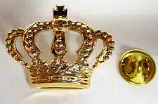Pin Brosche Krone gold 18kt vergoldet König Königin echtvergoldet royal crown