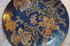 Chinese pottery plate blue background decorated with flowers and gold
