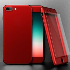 Red Hybrid 360° Silicone Ultra HardThin Case Cover +Tempered Glass iPhone 7 Plus
