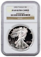 1993-P 1 Troy Oz Silver Eagle $1 NGC PF69 UC Proof 69 Ultra Cameo SKU16232