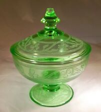HAZEL ATLAS GLASS CO. CLOVERLEAF GREEN FOOTED CANDY DISH or JAR & COVER!