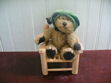 "Small Boyd's Bear Archive Collection 6"" Plush Bear in Beige Wood Cane Seat Chair"