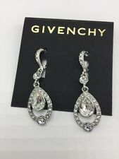 GIVENCHY Pave Clear Crystal Teardrop Silver-Tone Drop Earrings $52 #598