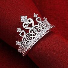 PRINCESS CROWN  'SILVER' BAND STACK  Ring CZ CRYSTALS SIZE 8 (Q)