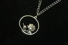 Rose bud Stem pewter Pendant Flower Silver Plated Chain Necklace Valentine's Day