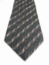 Audrey Buckner Black and Light Pink Woven Geometric Stripe Silk Necktie