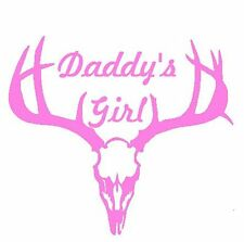 Deer Antler Skull Window Decal Truck Car Daddy's Girl Hunt White or Pink Vinyl