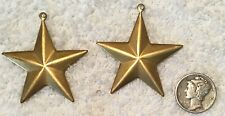 VINTAGE RAISED BRASS STAR STAMPINGS FINDINGS WITH RING 8 PIECES