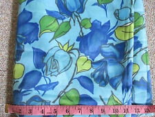 Beautiful Vintage Retro Voile type Fabric Blue Roses over 5 yards