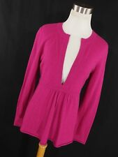 J Crew S Small Sweater womens Berry Pink V neck Wool Micro Pleat L/S Soft W1