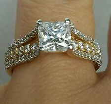 1.85 c 14K Yellow gold princess man made diamond engagement ring S 6.5