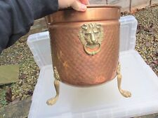 Antique Style Copper Planter Plant Pot Tub Brass Lion Feet Handles Trough Old