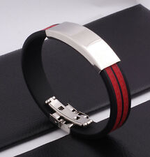 "Unisex Men Women's Stainless Steel Rubber Silicone Bracelet Black 8"" G28"