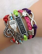 NEW Fox Infinity Owl Note  Wing  Leather  Charm Bracelet plated Silver  C0A2