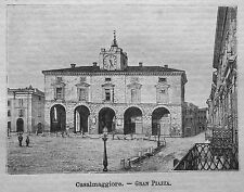 1891= CASALMAGGIORE,GRAN PIAZZA = CREMONA.ITALIA.Xilo+Passepartout.Etna.Premoli