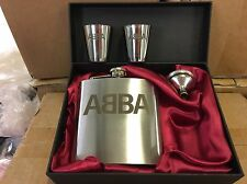 ABBA Laser Engraved Stainless Steel 6oz Hip Flask Gift Set