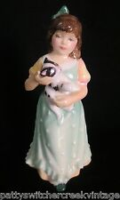 ROYAL DOULTON England Bone China Victorian Girl With Cat Figurine-HOME AT LAST