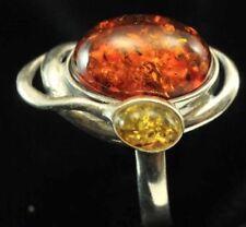 Vintage Baltic Amber & 925 Sterling Silver Ring Size 10.25 EX ESTATE FIND.