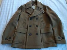 Authentic New BURBERRY Men's Camel BRANTFORD Wool Check Peacoat Jacket M $1295