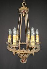 Large Spanish Revival Chandelier c.1920s Rewired (Tudor, Gothic, Brass, Antique)