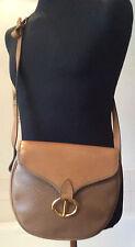 vintage Christian Dior ~ saddlebag shoulder bag ~ grained & smooth brown leather